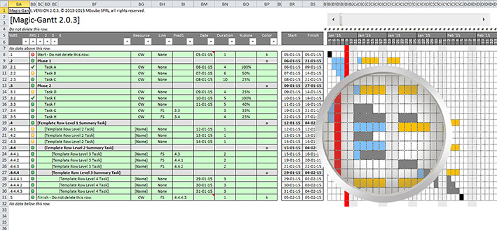 Planning software gantt chart for excel features magic gantt software gantt using 4 hierarchical levels for visual structuring ccuart Images