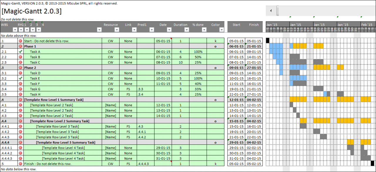 Professional Gantt Chart With Excel Magic Gantt